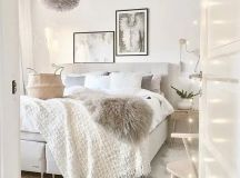a cute basket is great for a soft-colored bedroom and will add a textural touch