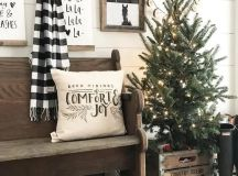 a lit up tree in a crate will add an industrial feel to your farmhouse entryway