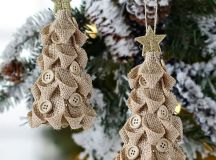 burlap Christmas tree ornaments with neutral buttons and glitter stars on top