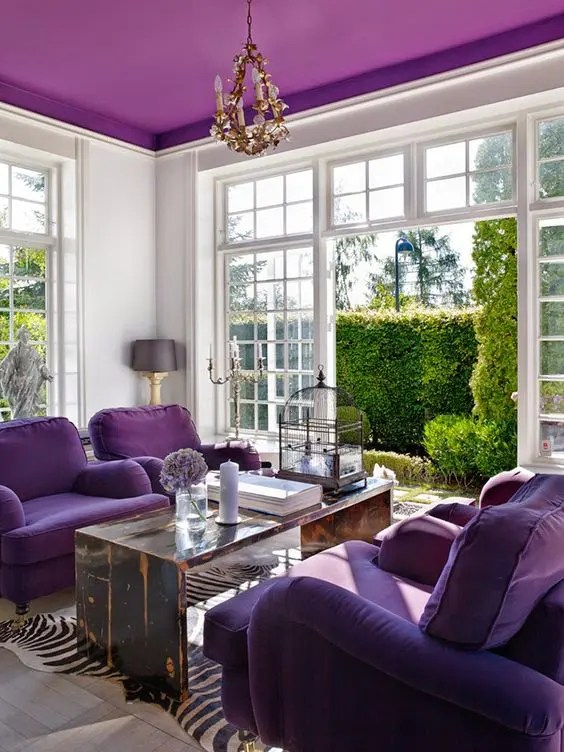 floral upholstered chair taupe dining chairs uk pantone's 2018 color ultra violet and 25 ways to rock it in decor - digsdigs