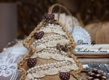 a vintage-inspired burlap Christmas tree ornament with lace, beads and little hearts