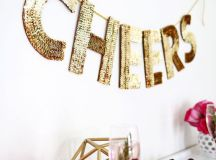 a gold sequin letter garland for decorating any space at home