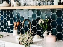 dark green hex tiles with white grout make a colroful statement