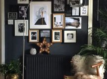 a chic gallery wall for a reading nook and a black radiator that looks invisible on a black wall