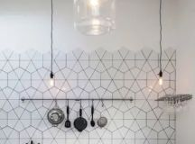 geometric white tiles with black grout for industrial, Scandinavian and just masculine kitchens