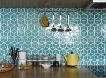 green geo tiles with white grout for a mid-century modern kitchen