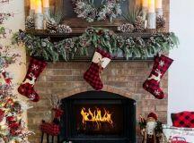 plaid stockings, plaid ornaments and decorations plus a plaid blanket