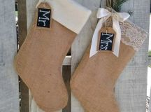 burlap stockings with felt and lace, with chalkboard tags and evergreens