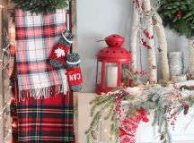 some plaid flannels hanging on a ladder for a cozy rustic Christmas feel