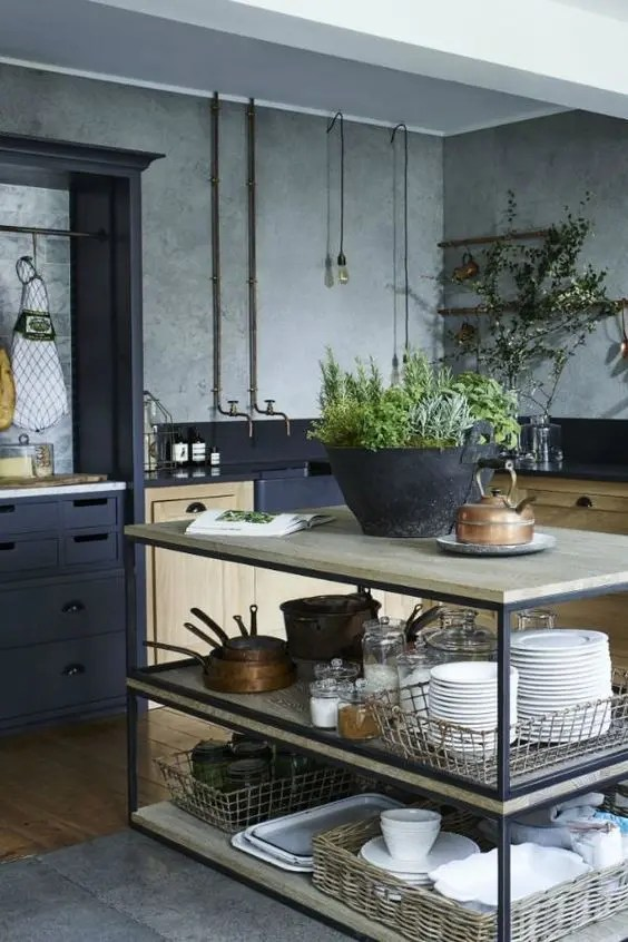metal kitchen island gas range 25 industrial islands to make a statement digsdigs simple with black framing and light colored wooden tops
