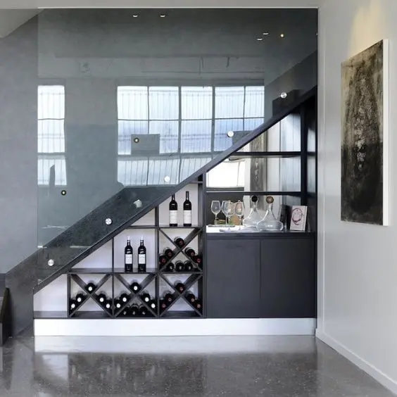 25 Under Stairs Wine Cellars And Wine Storage Spaces Digsdigs | Bar Under Stairs Design | Stair Storage | Basement Remodeling | Floating Shelves | Space | Escaleras