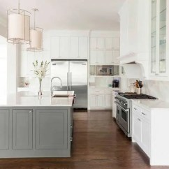 Grey Kitchen Island Glass Inserts For Cabinets 25 Contrasting Ideas A Statement Digsdigs Traditional White With That Adds Touch Of Color But