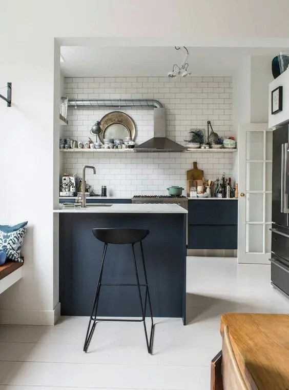 small kitchen island sink 25 mini ideas for spaces digsdigs a in black with white countertop and plus space