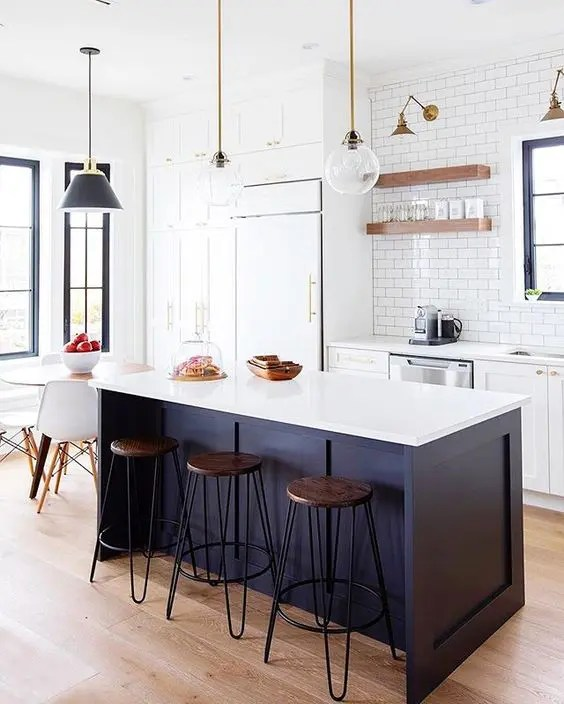 blue kitchen island roller 25 contrasting ideas for a statement digsdigs white and midnight with countertop chic