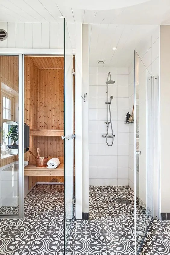 Picture Of mosaic black and white bathroom tiles