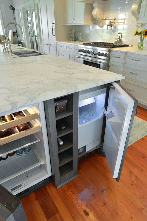 kitchen island wine fridge pre made cupboards 31 smart islands with built-in appliances - digsdigs