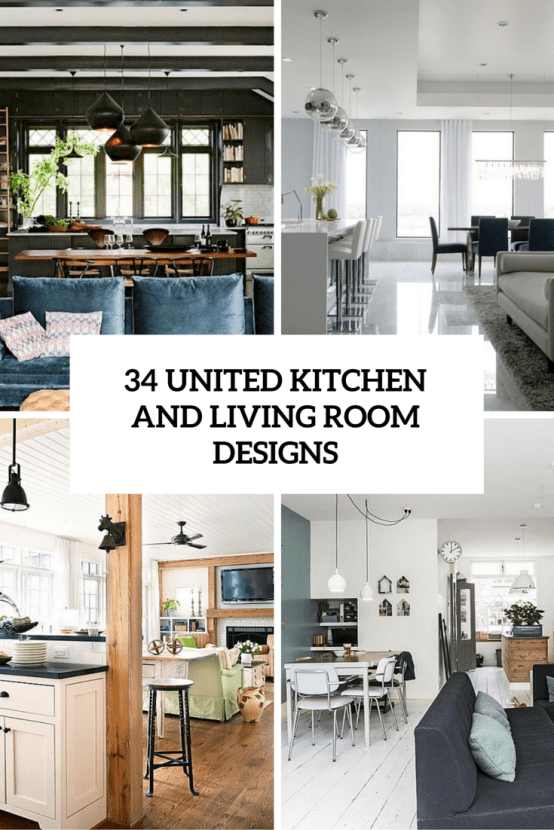 3 Tips And 34 Examples To Unite The Kitchen And The Living Room Right Digsdigs