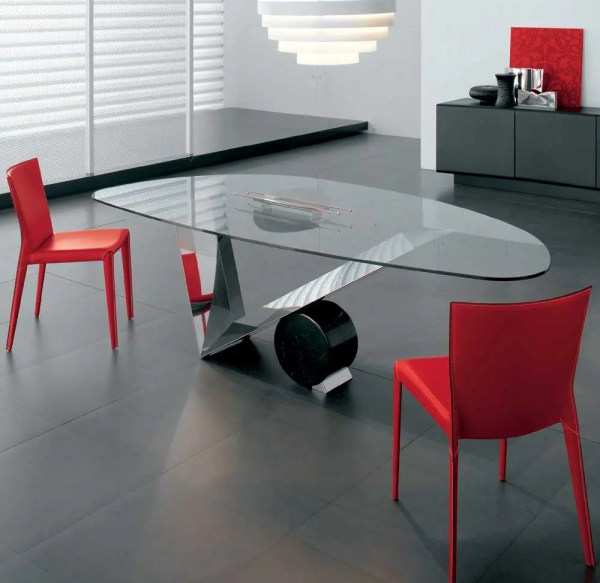 Modern Glass Top Dining Room Table