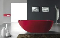 Gorgeous Red Freestanding Bathtub from Bella Stone - DigsDigs