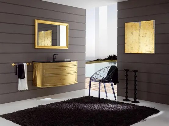 Modern And Elegant Gold Bathroom Furniture Mignon By Eban