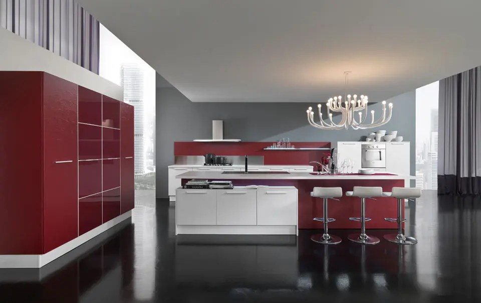 BHouse Home Design New Modern Kitchen Design with Red