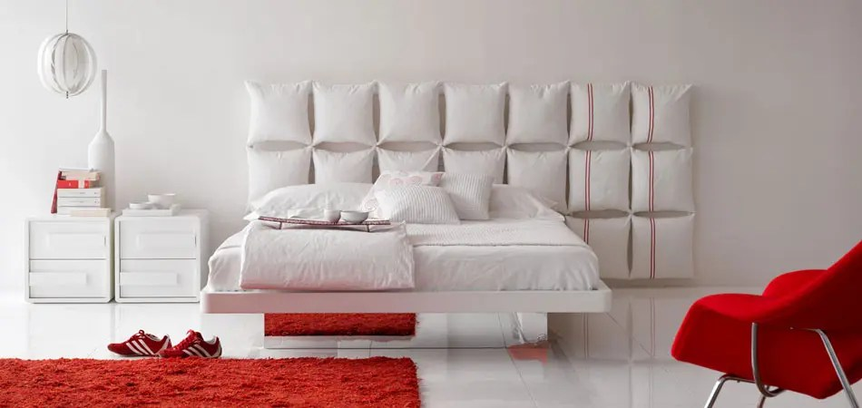 White Bed with Unusual and Creative Headboard  Pixel By Olivieri  DigsDigs