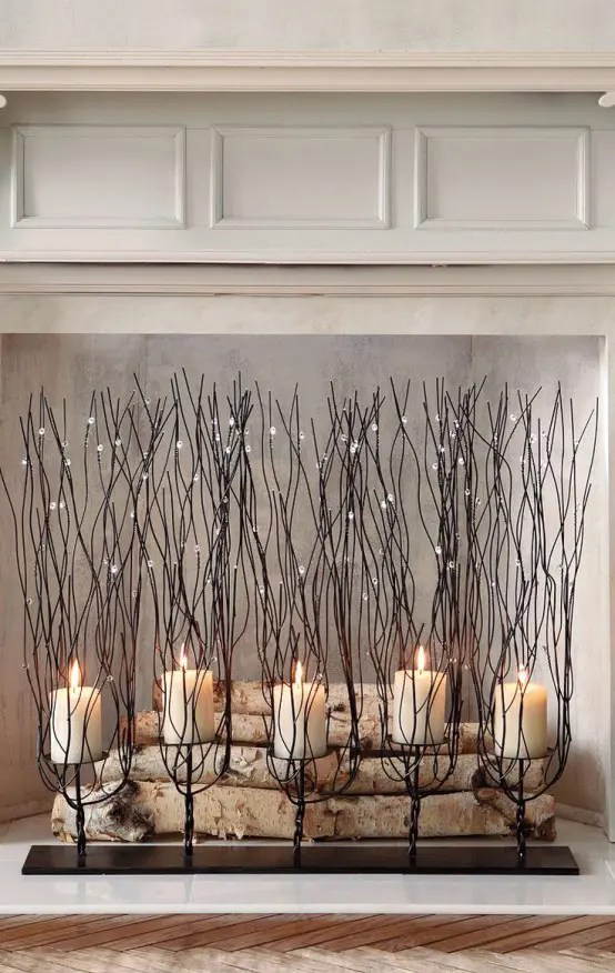 30 Adorable Fireplace Candle Displays For Any Interior  DigsDigs