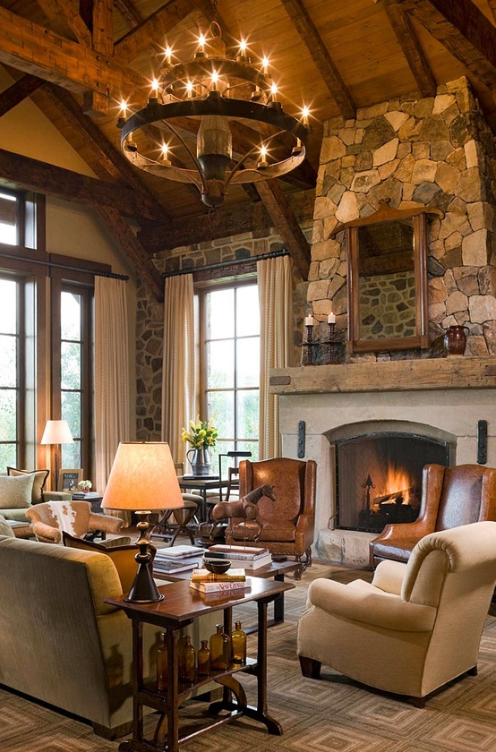 The look great against the creamy white wall of this room. 55 Airy And Cozy Rustic Living Room Designs - DigsDigs