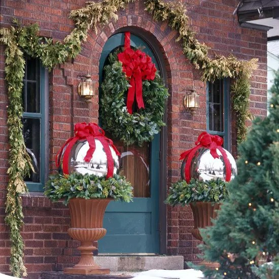 fresh greenery pairs perfectly with red ribbon