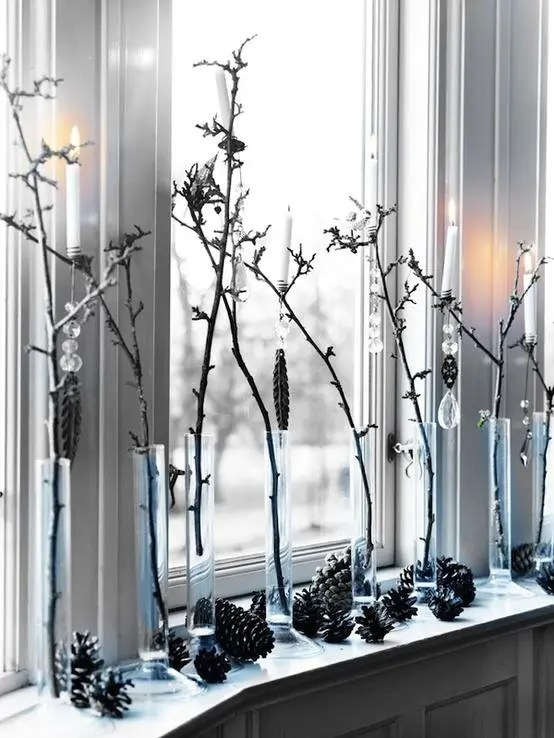 awesome christmas window decor ideas if you have a bunch of cool vases put some tree branches in them surround