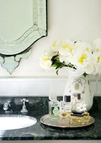 Bathroom Decor Fresh Flowers Cologne Perfume Tray Art Deco Wall Mirror Marble Countertops Bathroom Sink Ceramic Pitcher