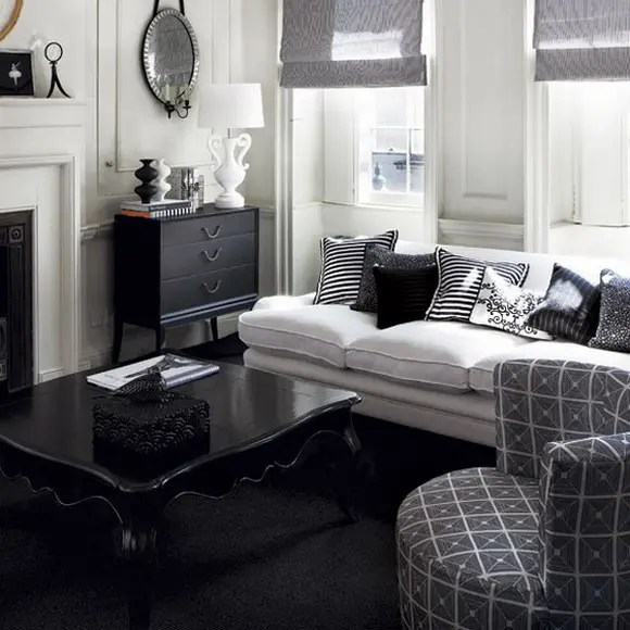 black white and gray living room 21 Black And White Traditional Living Rooms | DigsDigs