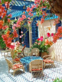 bright spring terrace and patio