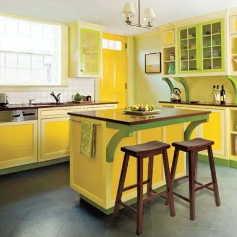 revolving easy chair accent chairs for sale cheerful summer interiors: 50 green and yellow kitchen designs - digsdigs
