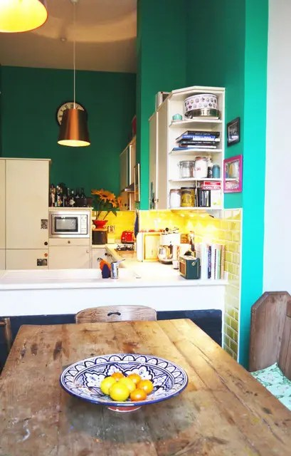 modern kitchen accessories paint colors for small kitchens cheerful summer interiors: 50 green and yellow ...