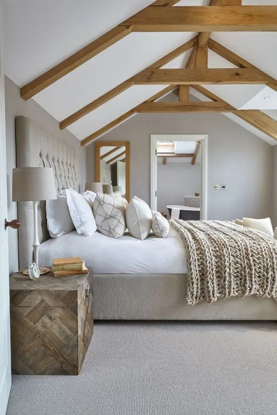 The kitchen designs, modern or traditional, have some distinctive features themselves. 35 Chic Bedroom Designs With Exposed Wooden Beams - DigsDigs