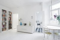 Clean White Small Apartment Interior Design with ...