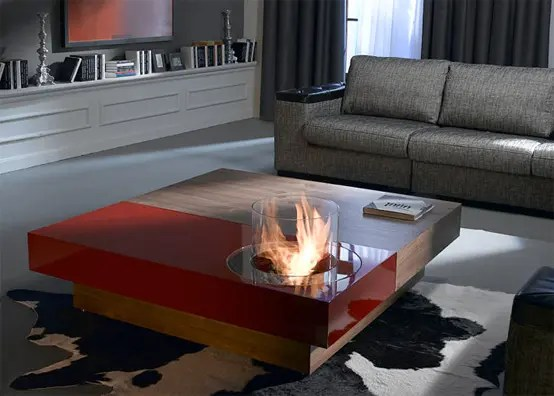 examples of living room decor coffee table ideas for small tables with built-in fireplace - digsdigs