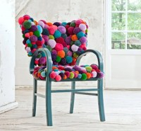 Colorful And Cozy Pompom Chairs And Rugs | DigsDigs