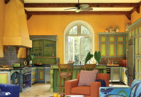 lime green and brown living room ideas tall tables 57 bright colorful kitchen design - digsdigs