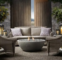 Concrete Outdoor Fireplace - River Rock Fire Bowl from ...