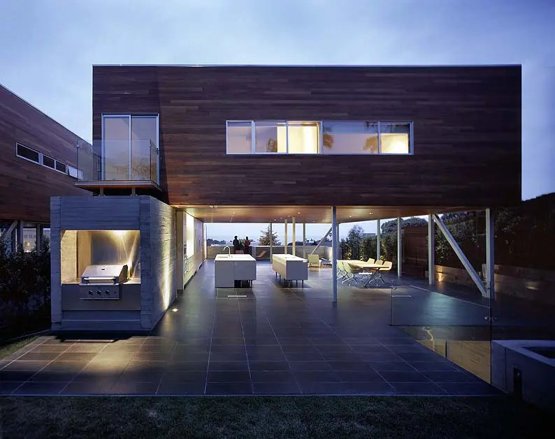 Convertible Adjacent Houses with Wood Clad Top by