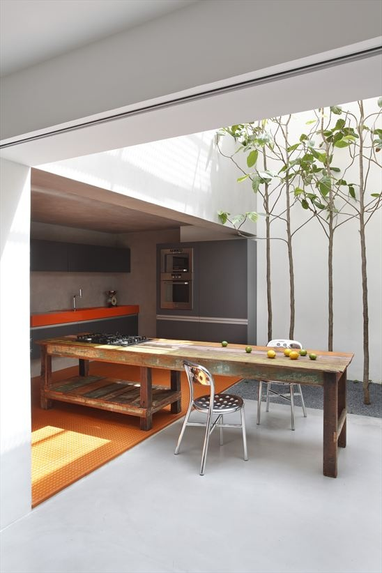 When weather conditions allow you could combine your indoor and courtyard kitchen for better eating experience.