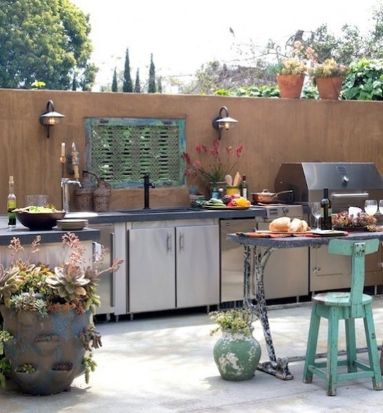 Stainless steel is a perfect material for outdoor kitchen cabinets.