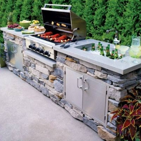 You should definitely install an outdoor sink. It's perfect to fill it with ice and cold drinks for summer parties.