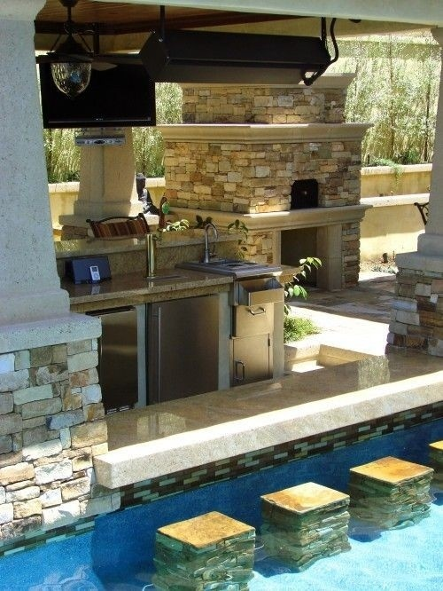 If you have a pool then you can create a small bar area connected to the kitchen.