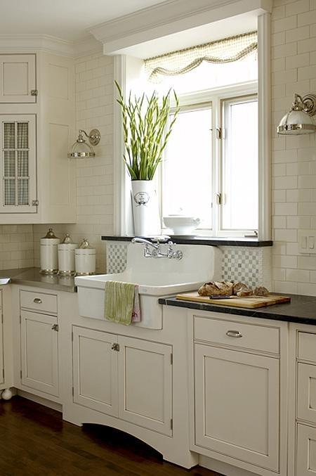White Farmhouse Kitchen Wood Counter