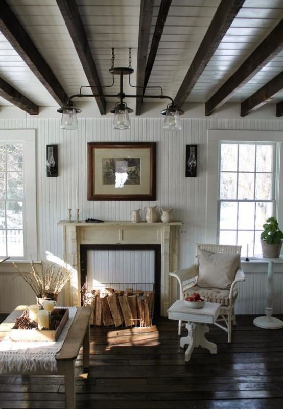 cool living room country decorating ideas for rooms 36 cozy designs with exposed wooden beams ...