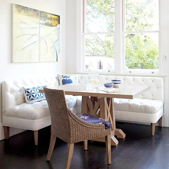 ikea white leather chair wedding covers without sashes 40 cute and cozy breakfast nook décor ideas - digsdigs