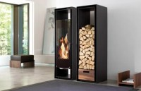 Built-In Cabinets With Decorative Fireplace with Logs ...